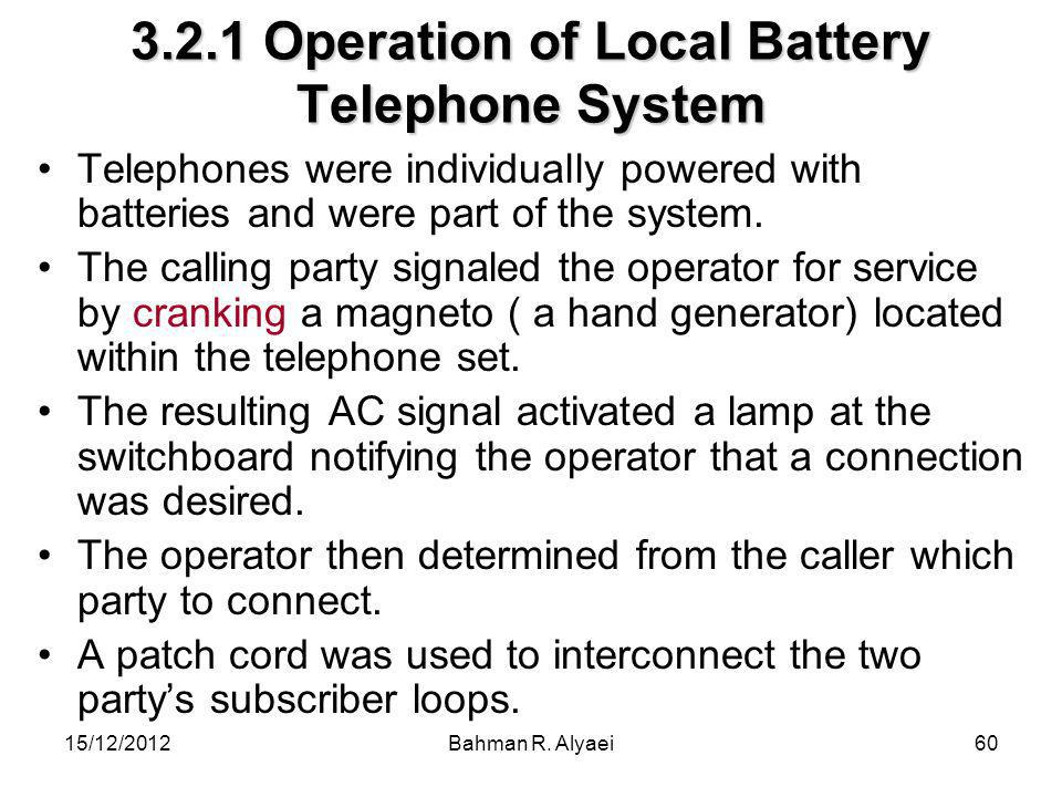 3.2.1 Operation of Local Battery Telephone System