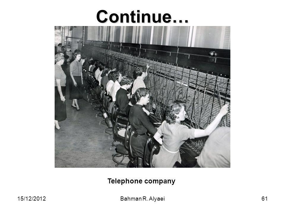 Continue… Telephone company 15/12/2012 Bahman R. Alyaei