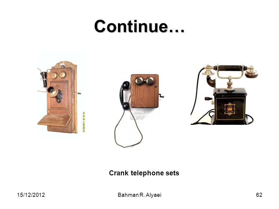 Continue… Crank telephone sets 15/12/2012 Bahman R. Alyaei