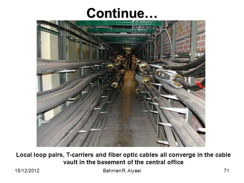 Continue… Local loop pairs, T-carriers and fiber optic cables all converge in the cable vault in the basement of the central office.