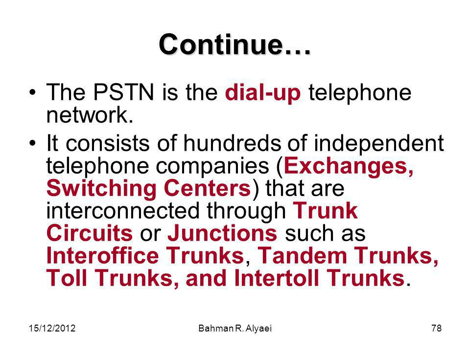 Continue… The PSTN is the dial-up telephone network.