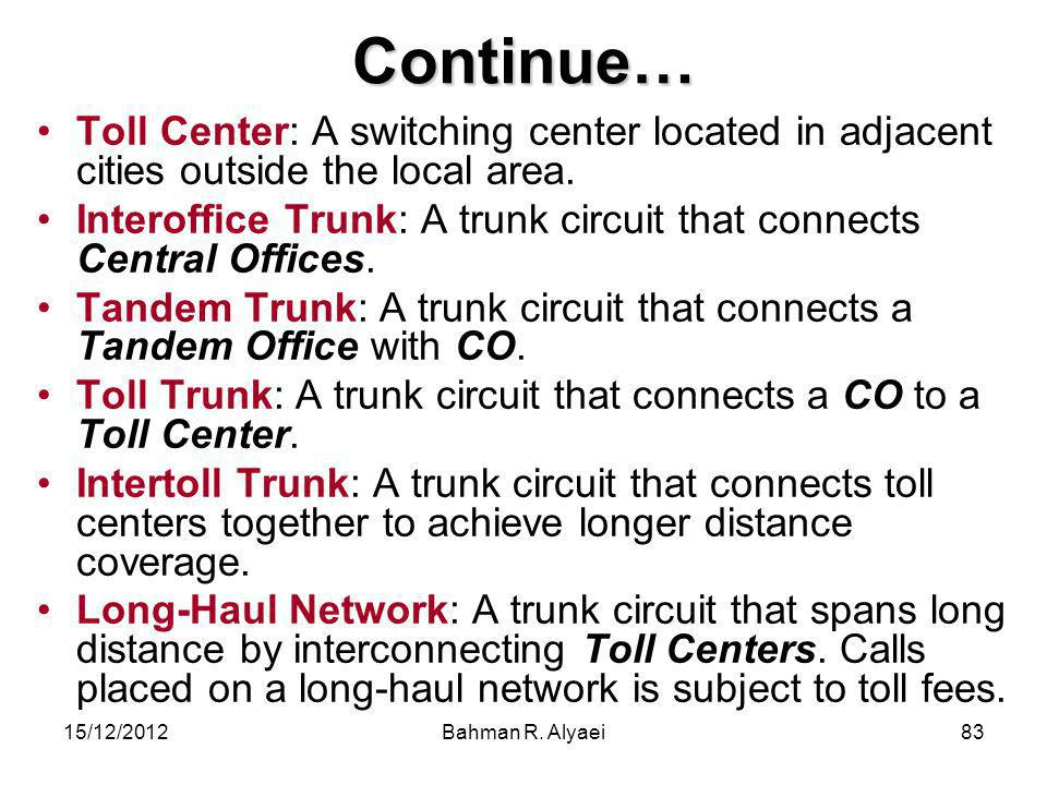 Continue… Toll Center: A switching center located in adjacent cities outside the local area.