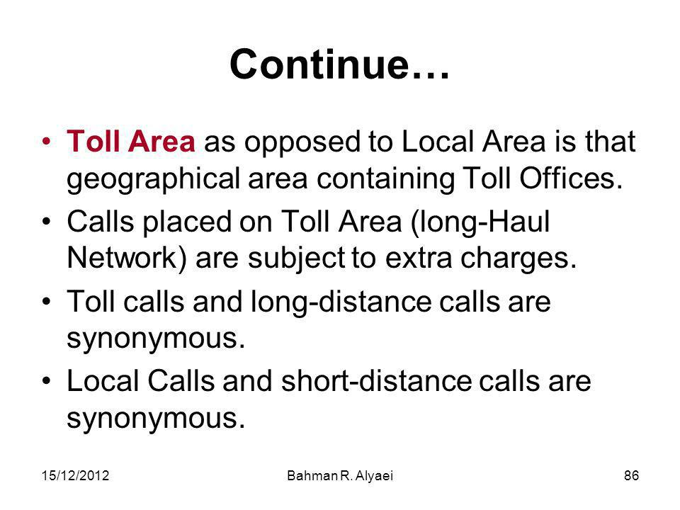 Continue… Toll Area as opposed to Local Area is that geographical area containing Toll Offices.