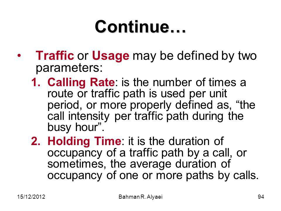 Continue… Traffic or Usage may be defined by two parameters: