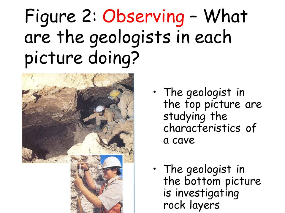 Figure 2: Observing – What are the geologists in each picture doing