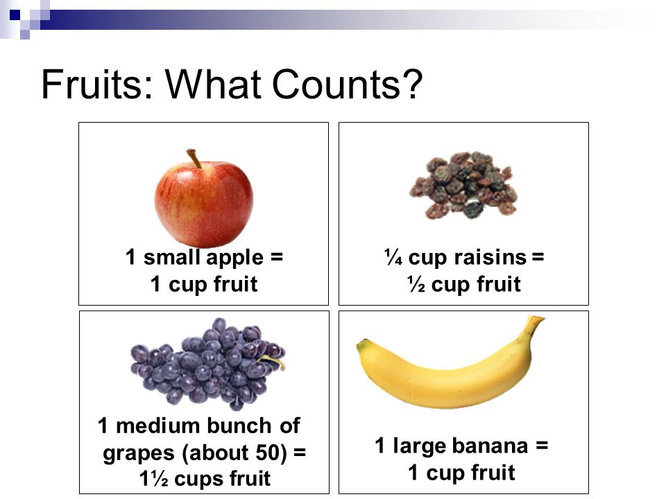 Fruits: What Counts 1 small apple = 1 cup fruit ¼ cup raisins =