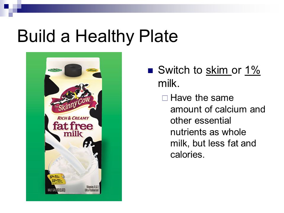 Build a Healthy Plate Switch to skim or 1% milk.
