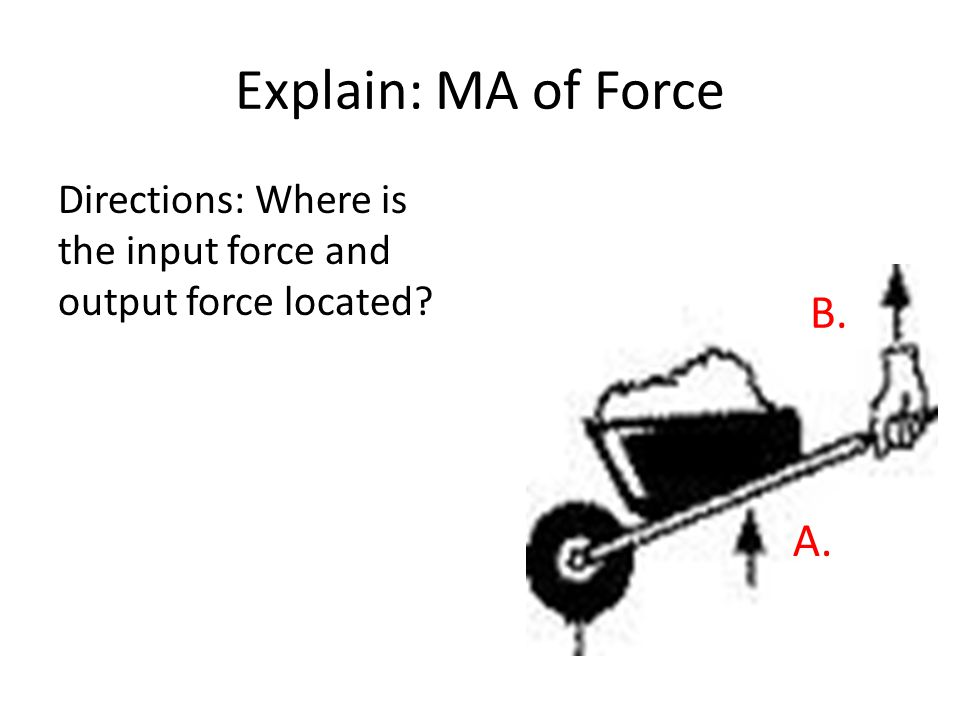 Explain: MA of Force Directions: Where is the input force and output force located B. A.