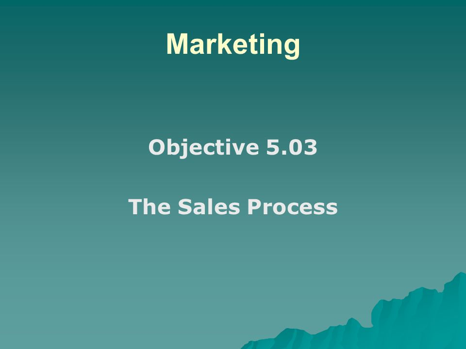 Marketing Objective 5.03 The Sales Process