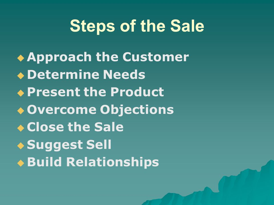 Steps of the Sale Approach the Customer Determine Needs