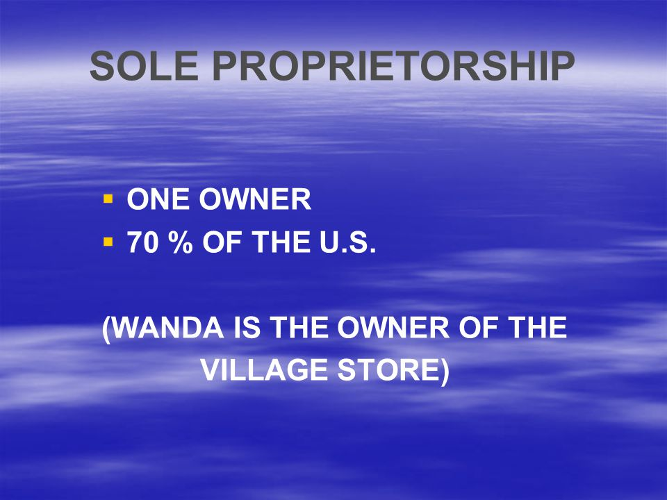SOLE PROPRIETORSHIP ONE OWNER 70 % OF THE U.S.