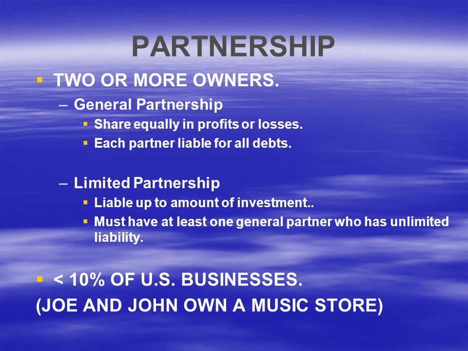 PARTNERSHIP TWO OR MORE OWNERS. < 10% OF U.S. BUSINESSES.