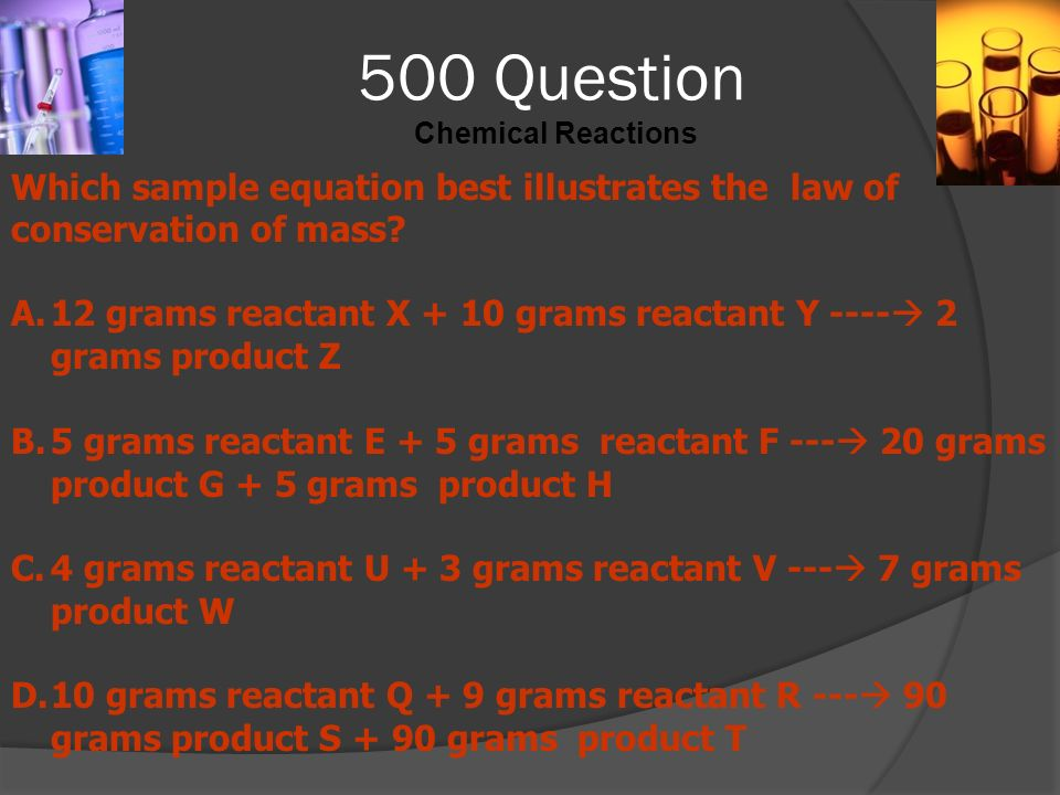 500 Question Chemical Reactions