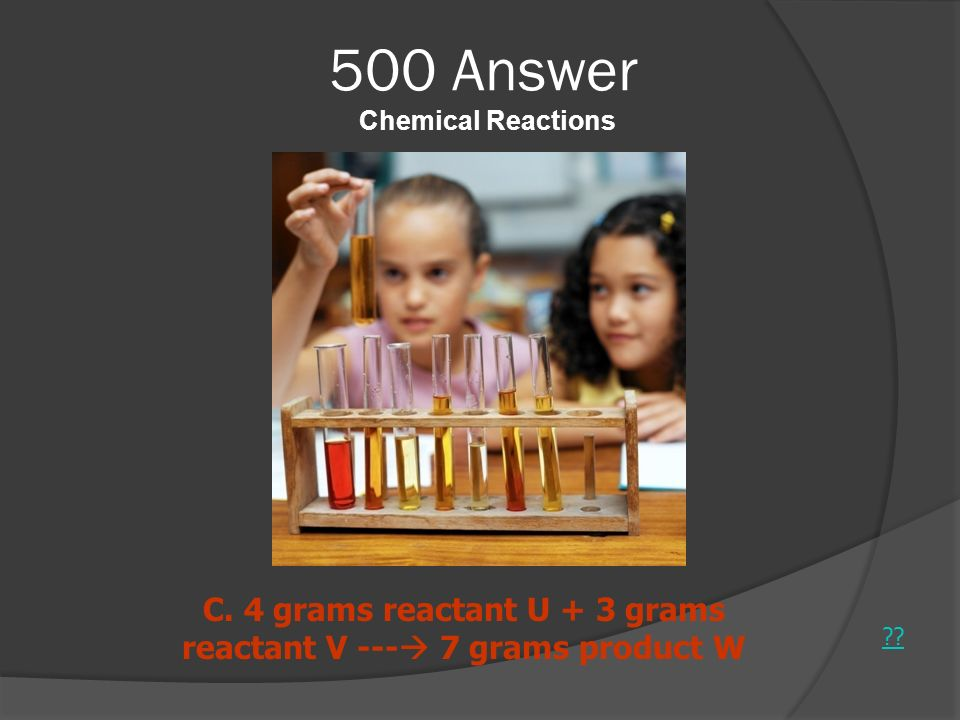 500 Answer Chemical Reactions