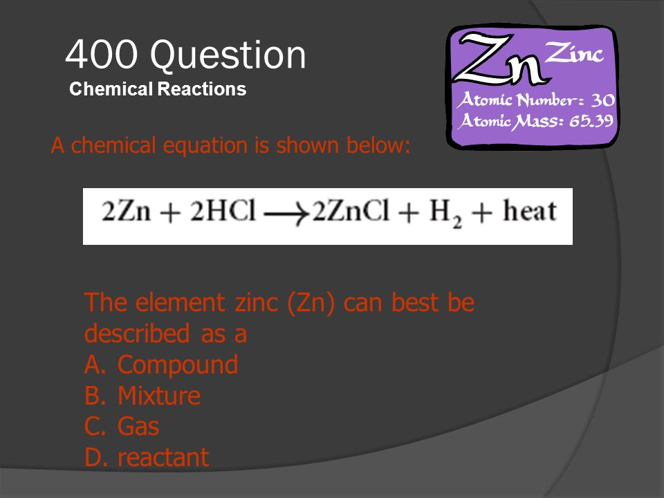 400 Question Chemical Reactions