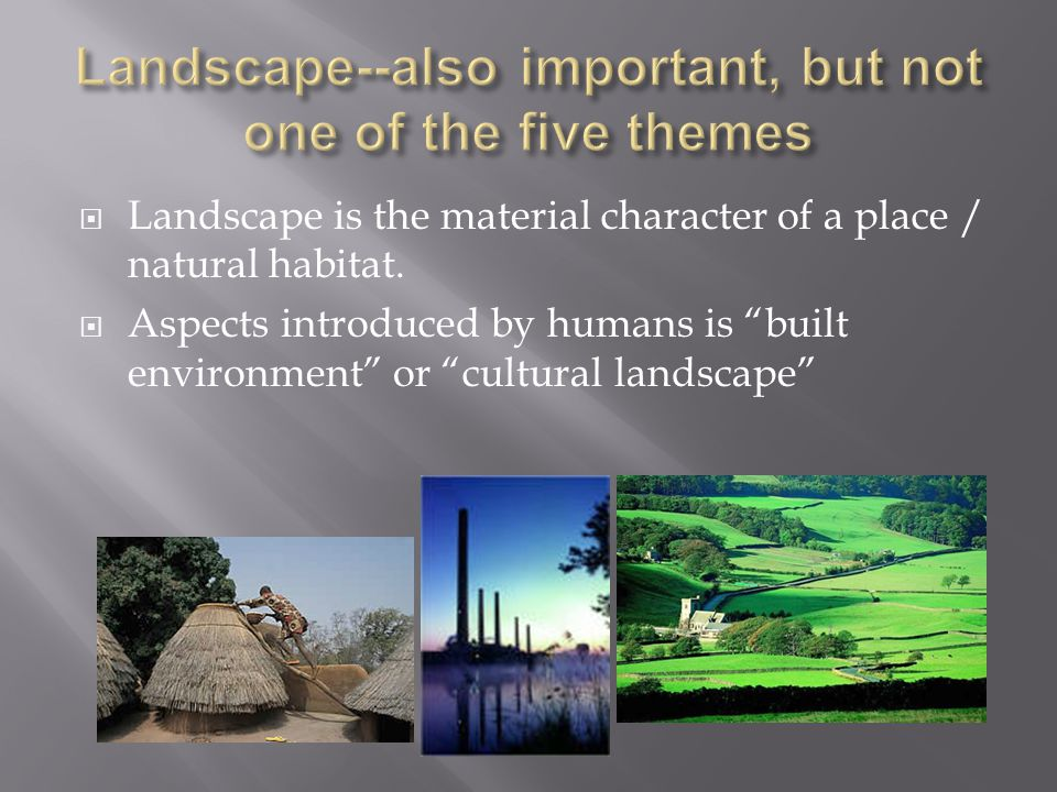 Landscape--also important, but not one of the five themes