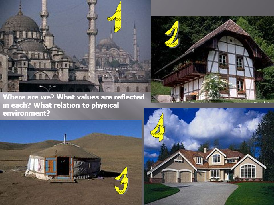 1 2 Where are we What values are reflected in each What relation to physical environment 4 3