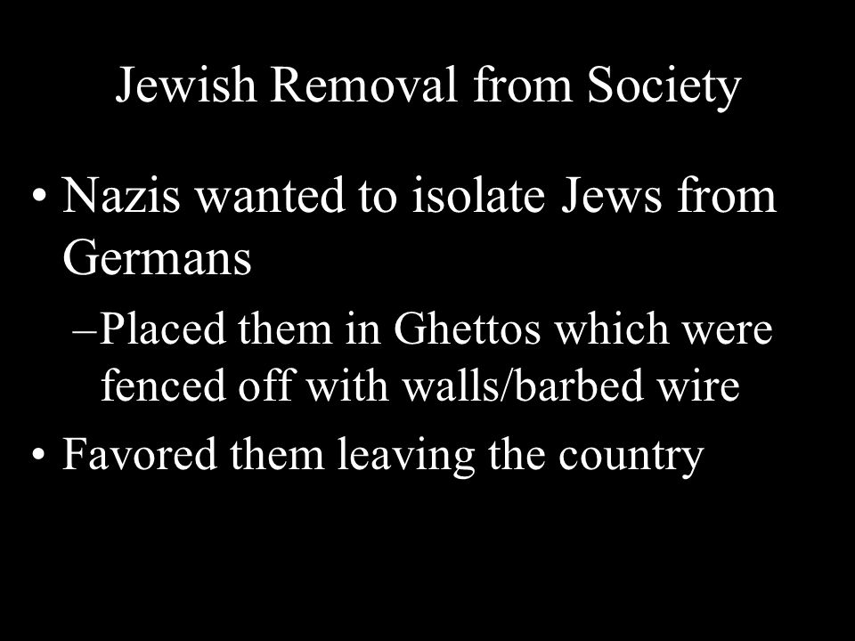 Jewish Removal from Society
