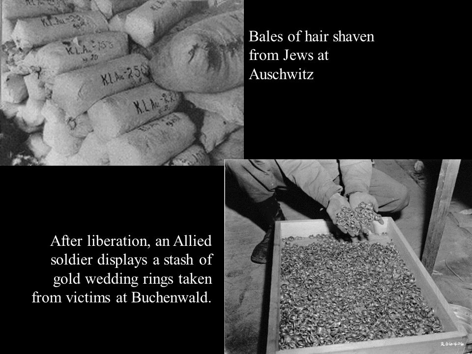 Bales of hair shaven from Jews at Auschwitz