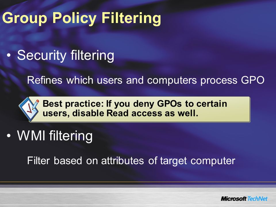 Group Policy Filtering