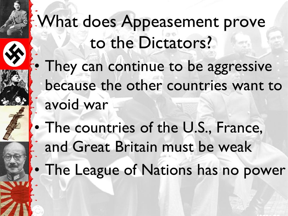 What does Appeasement prove to the Dictators