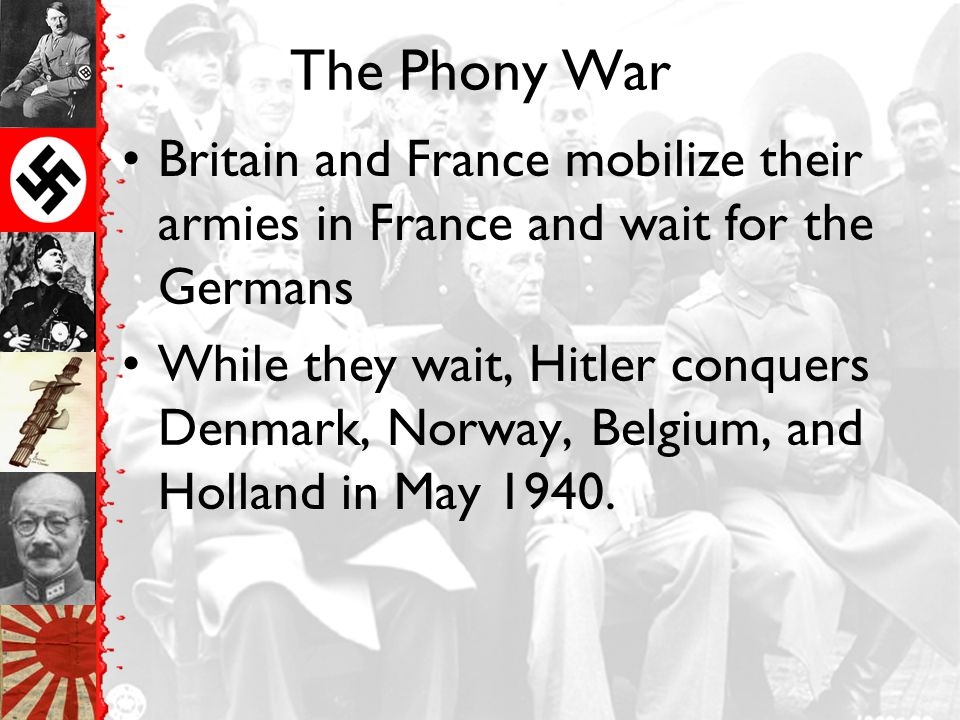 The Phony War Britain and France mobilize their armies in France and wait for the Germans.