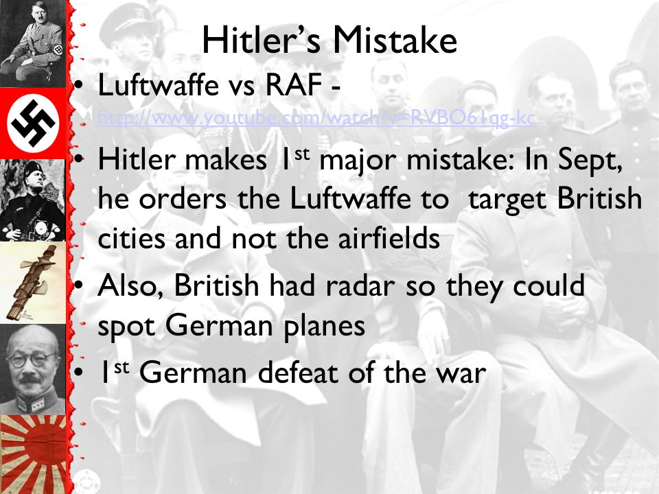 Hitler's Mistake Luftwaffe vs RAF - http://www.youtube.com/watch v=RVBO61qg-kc.