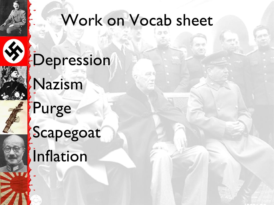 Work on Vocab sheet Depression Nazism Purge Scapegoat Inflation