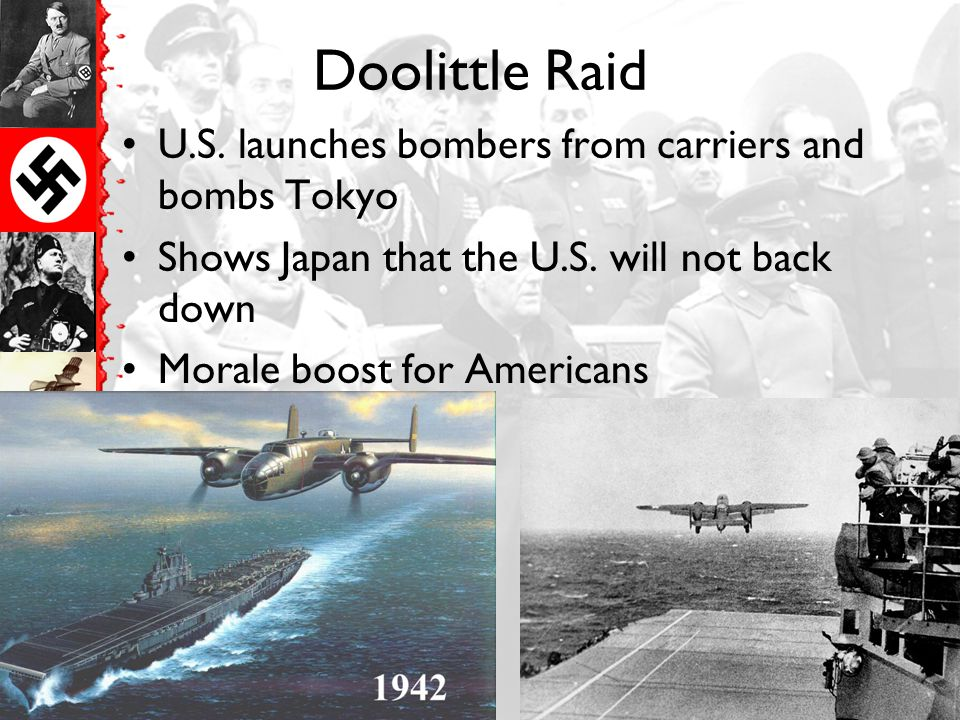 Doolittle Raid U.S. launches bombers from carriers and bombs Tokyo