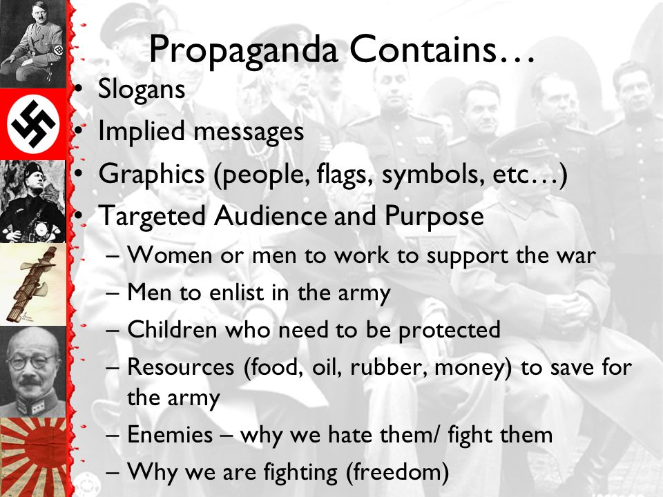 Propaganda Contains… Slogans Implied messages