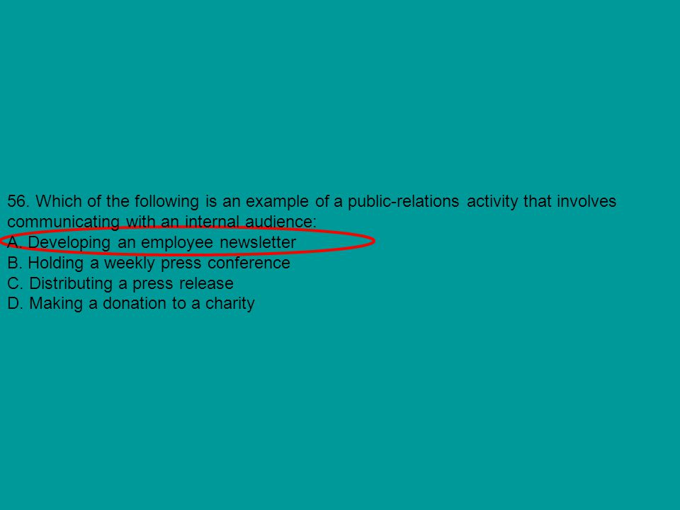 56. Which of the following is an example of a public-relations activity that involves communicating with an internal audience: