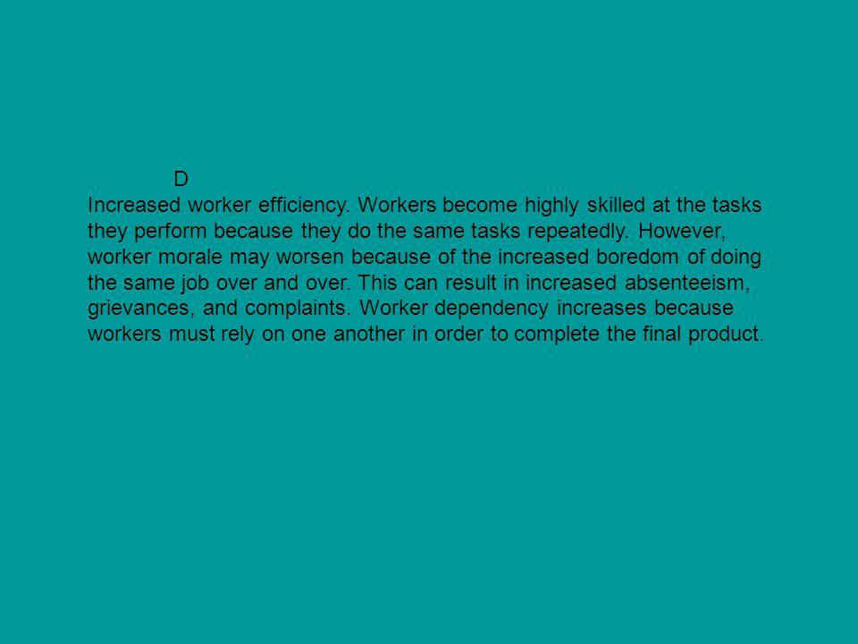 D Increased worker efficiency