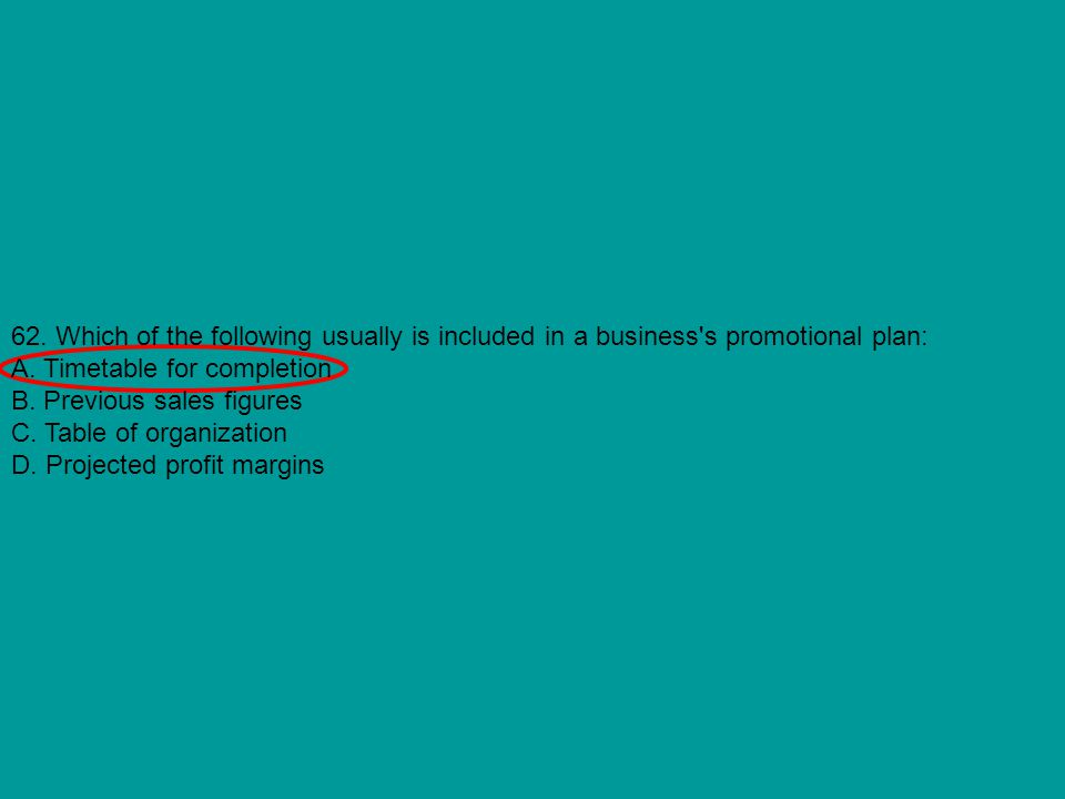 62. Which of the following usually is included in a business s promotional plan: