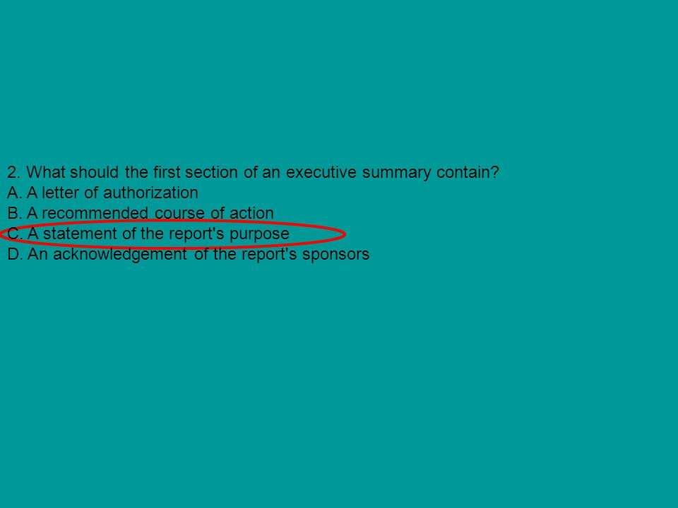 2. What should the first section of an executive summary contain