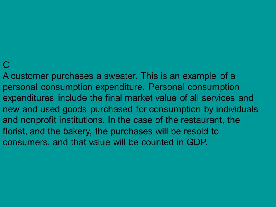 C A customer purchases a sweater