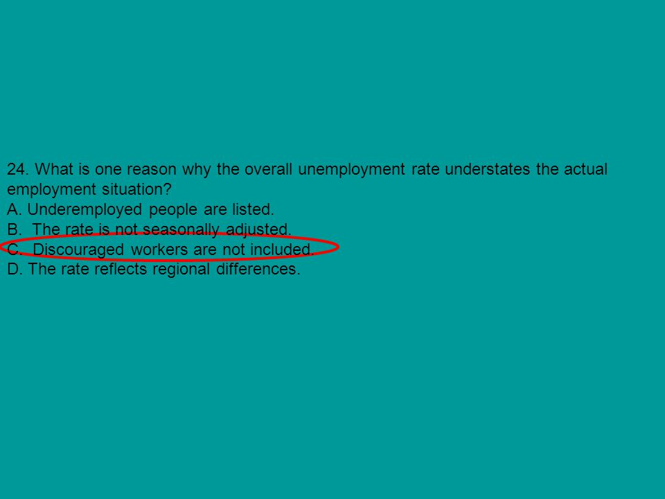 24. What is one reason why the overall unemployment rate understates the actual employment situation