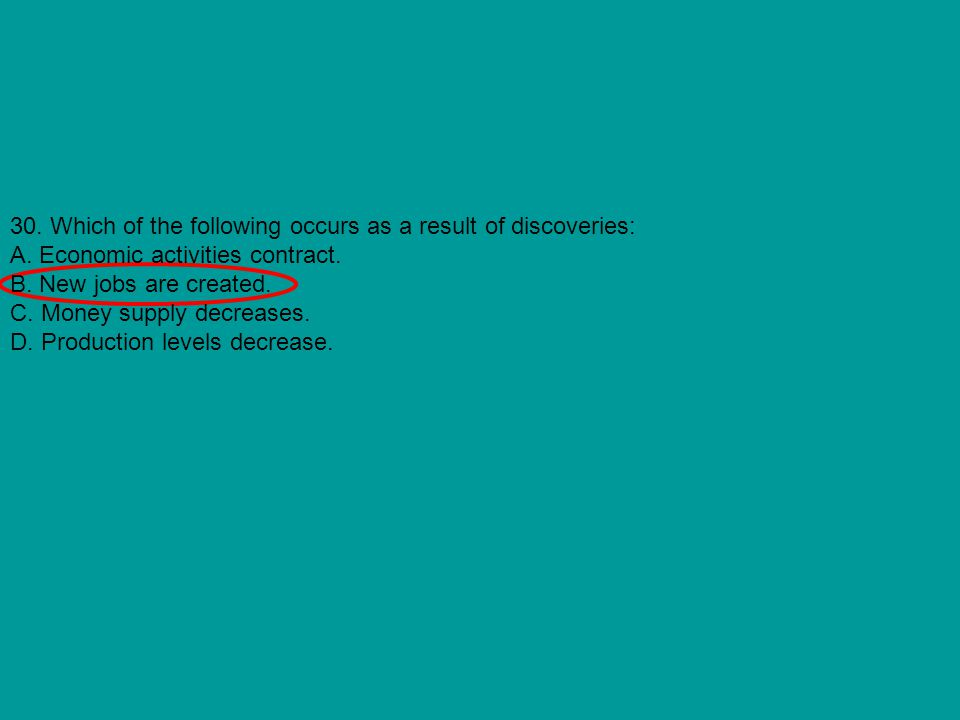 30. Which of the following occurs as a result of discoveries: