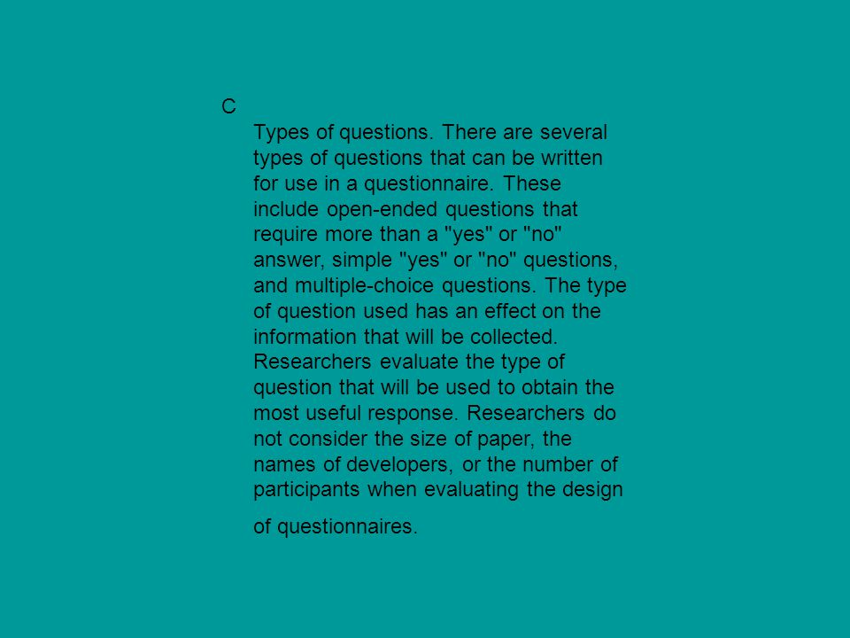 C Types of questions.