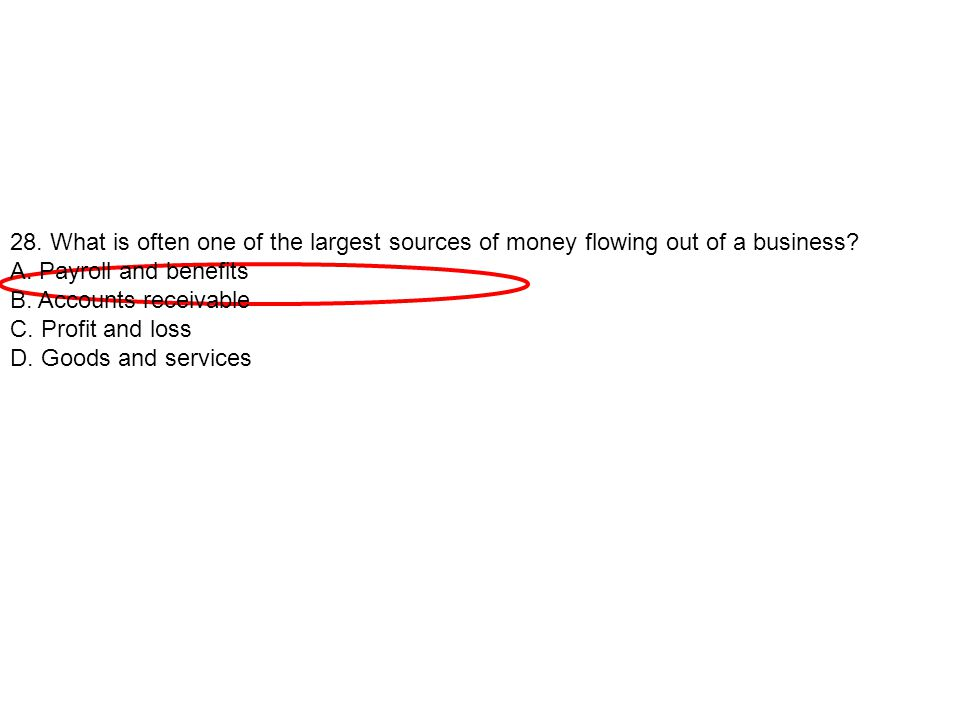 28. What is often one of the largest sources of money flowing out of a business