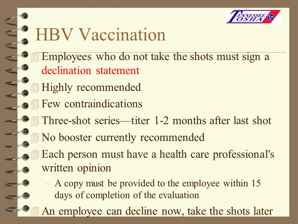 HBV Vaccination Employees who do not take the shots must sign a declination statement. Highly recommended.