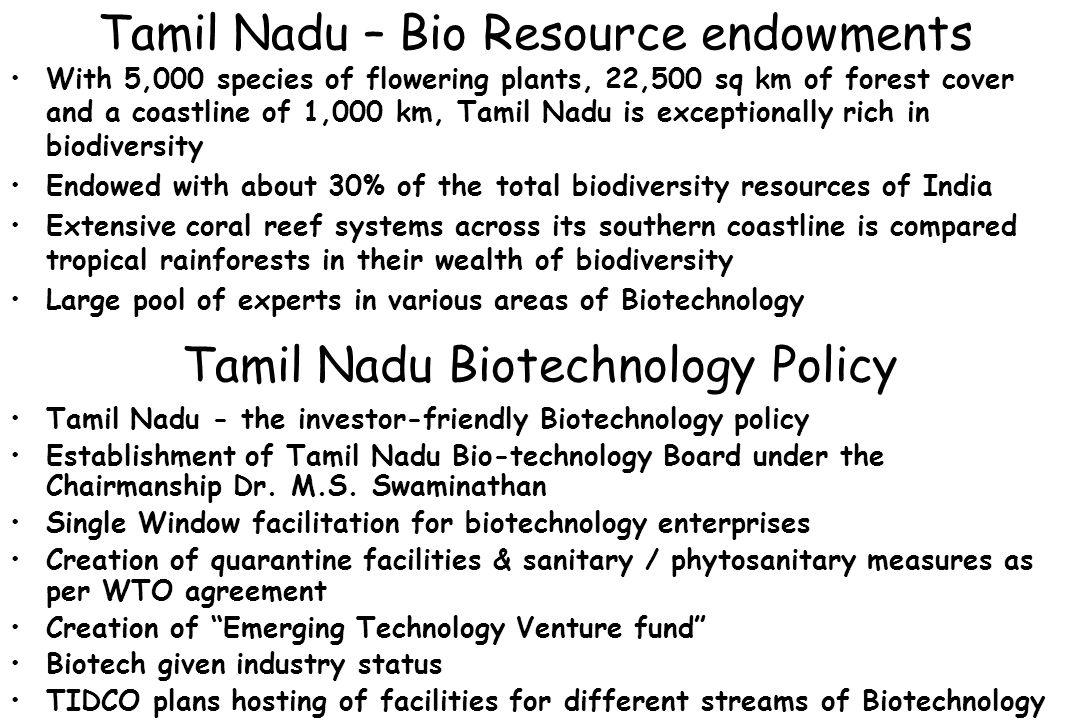 Tamil Nadu Biotechnology Policy