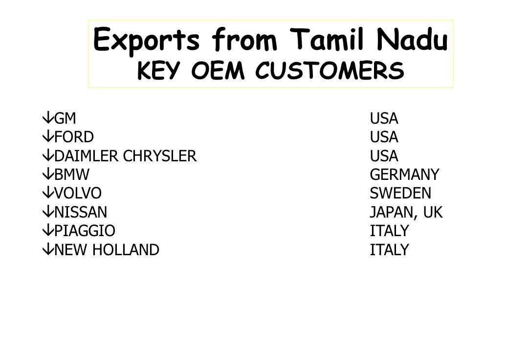 Exports from Tamil Nadu KEY OEM CUSTOMERS