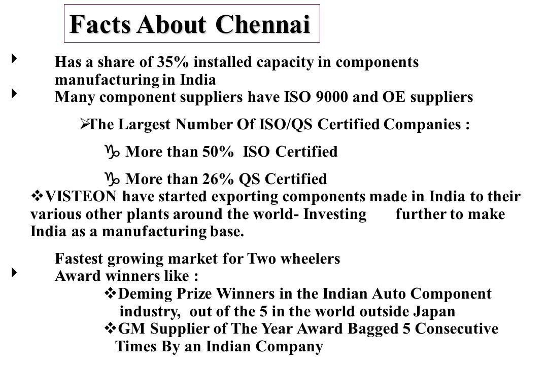 Facts About Chennai Has a share of 35% installed capacity in components manufacturing in India.