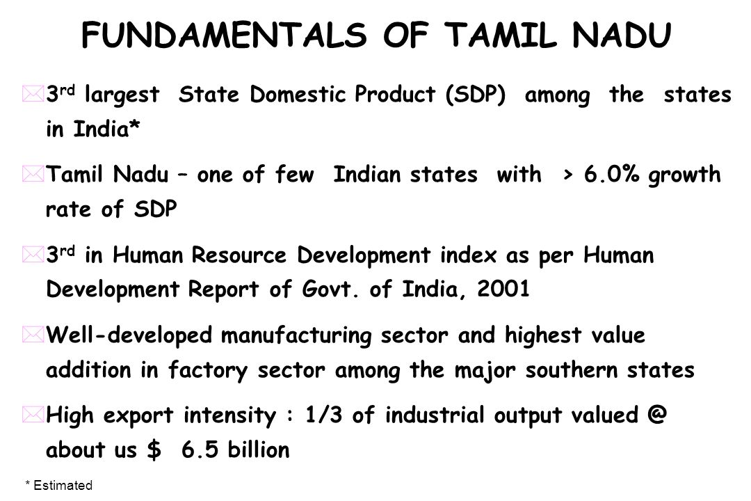 FUNDAMENTALS OF TAMIL NADU