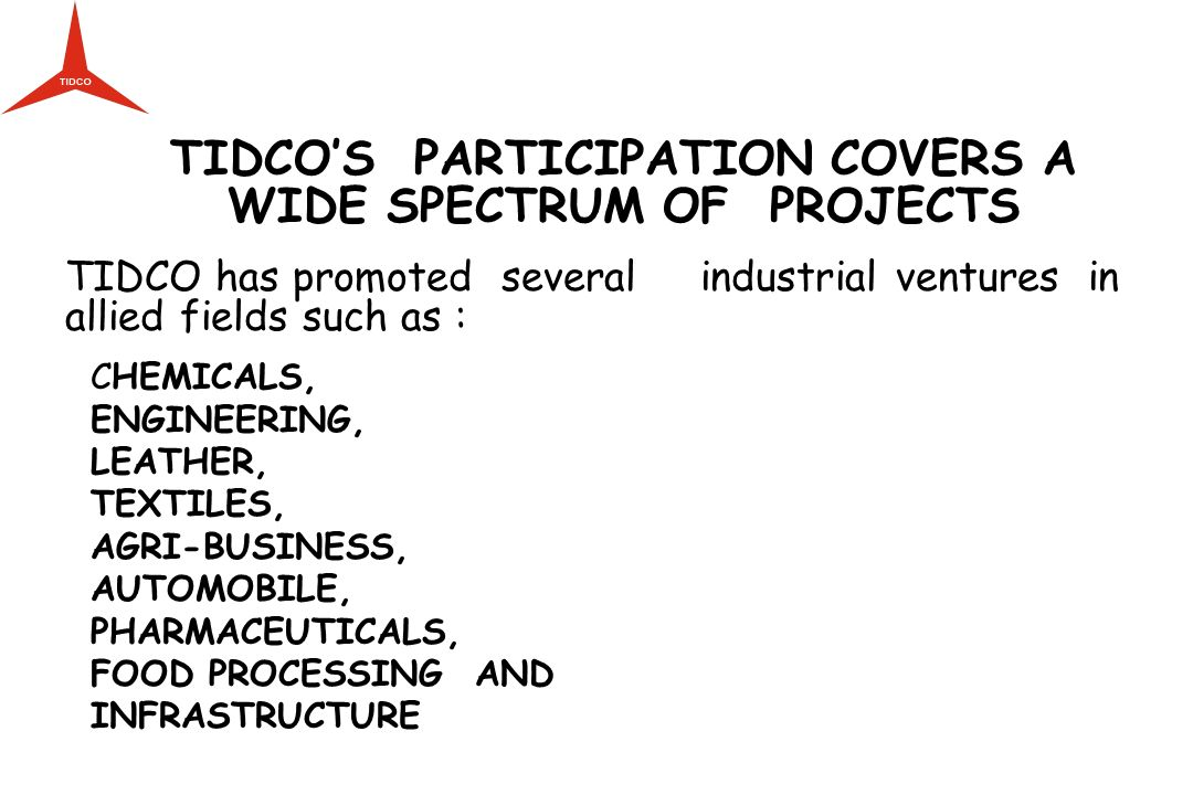 TIDCO'S PARTICIPATION COVERS A WIDE SPECTRUM OF PROJECTS