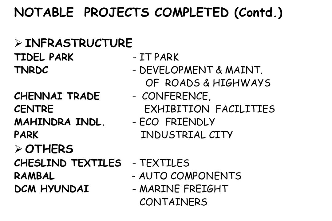 NOTABLE PROJECTS COMPLETED (Contd.)