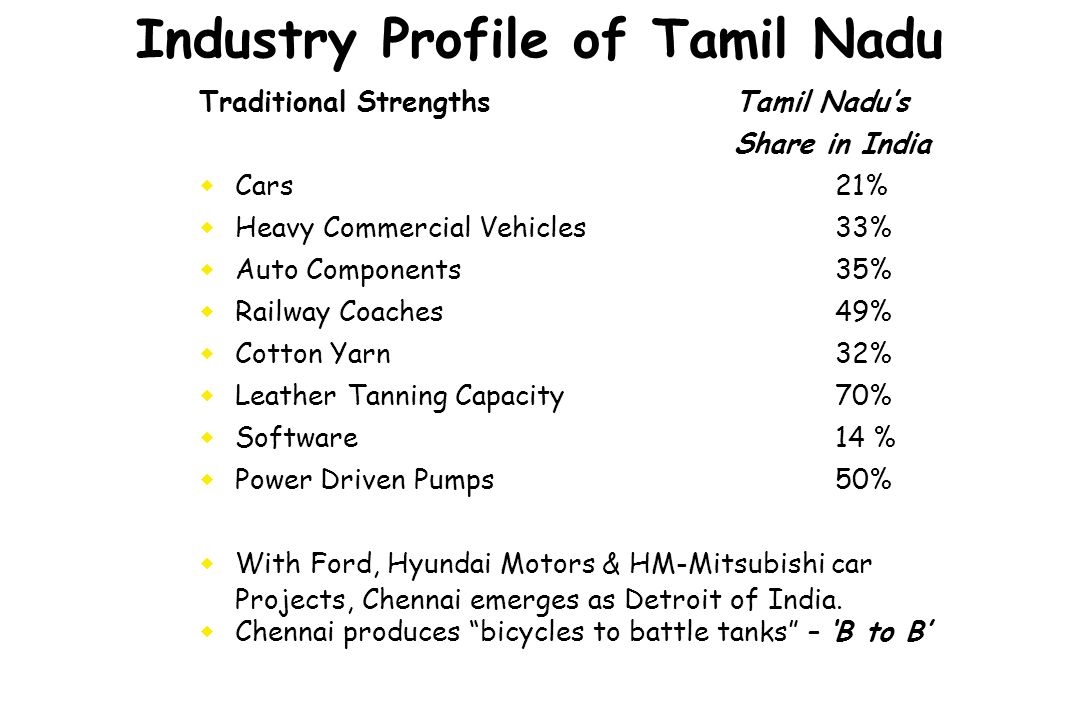 Industry Profile of Tamil Nadu