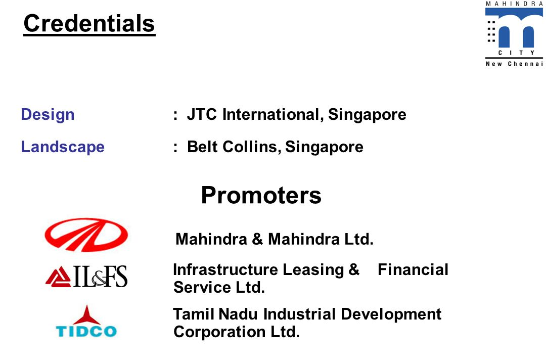 Credentials Promoters Design : JTC International, Singapore