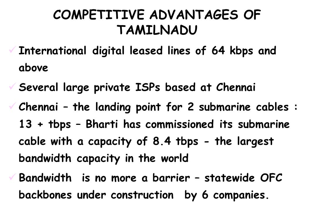 COMPETITIVE ADVANTAGES OF TAMILNADU