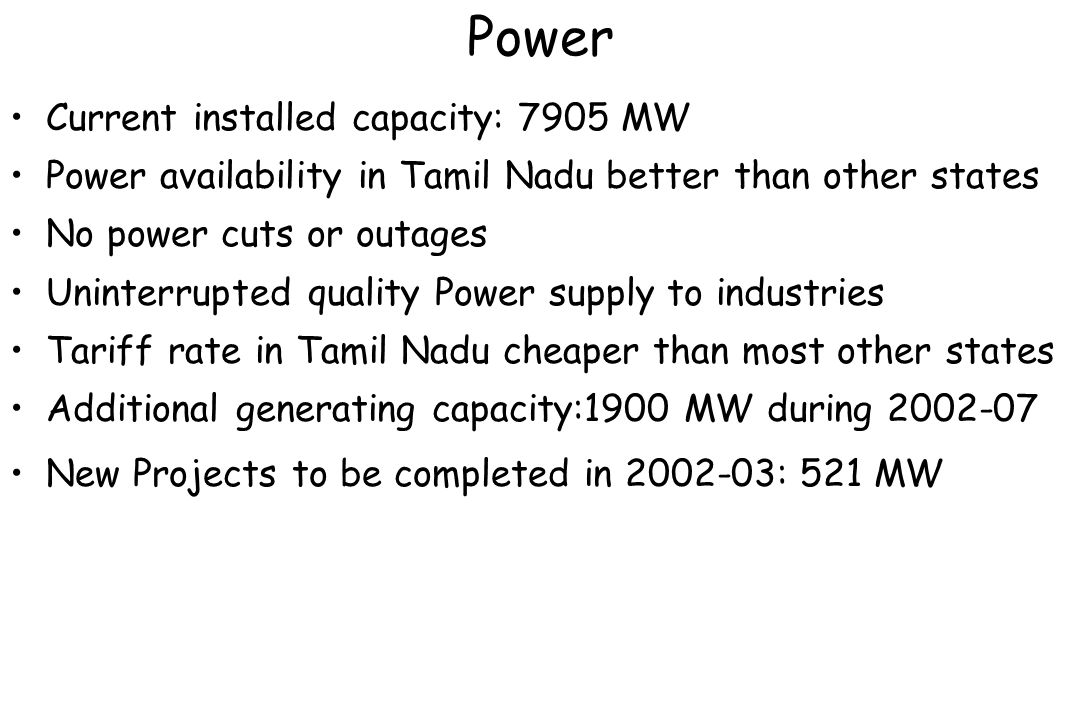 Power Current installed capacity: 7905 MW